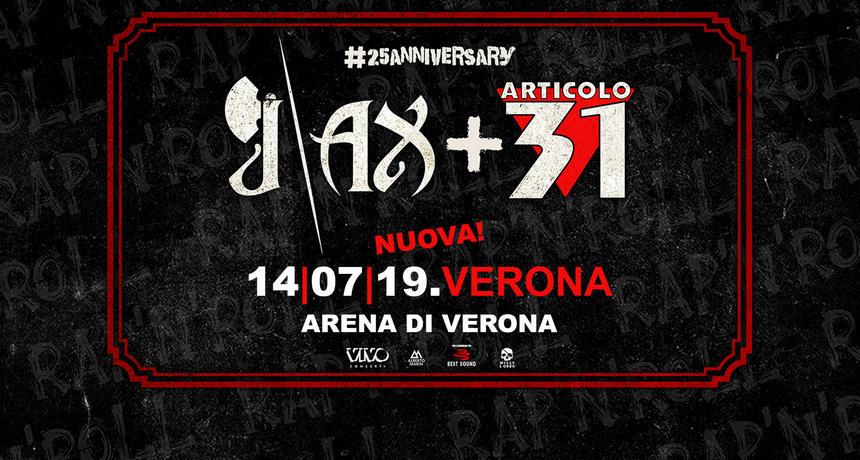 J-Ax + Articolo 31 insieme sul palco dell'Arena di Verona