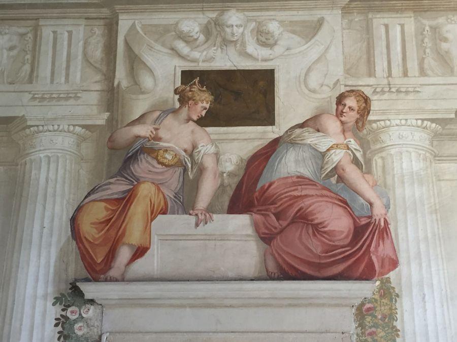Particolare di un affresco di Paolo Veronese in Villa Roberti