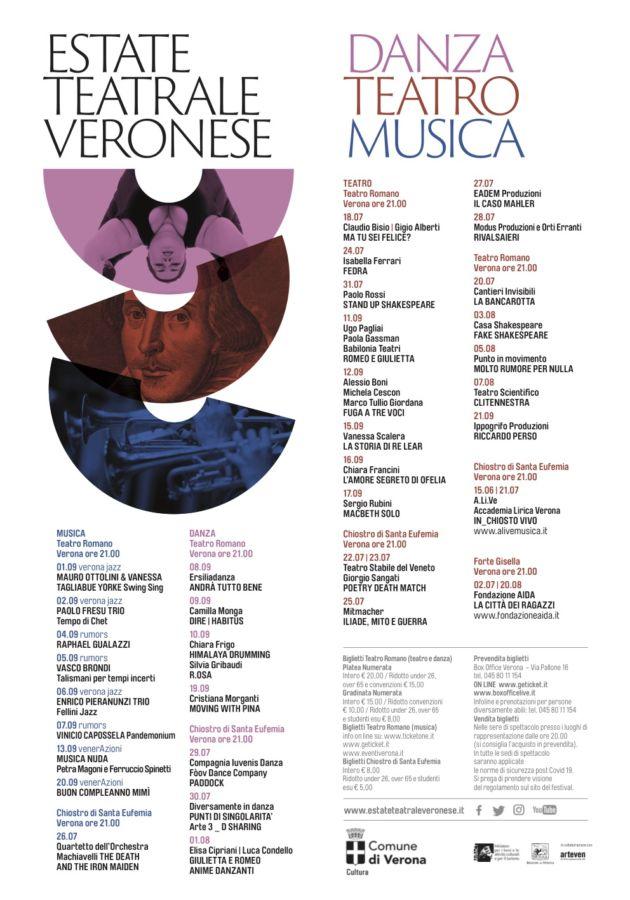 """La locandina della rassegna """"Estate Teatrale Veronese 2020"""""""