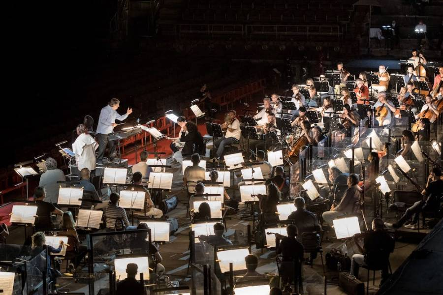 Riccardo Muti prova Aida al Teatro Filarmonico con l'Orchestra e il Coro della Fondazione Arena. Foto © Laura Ferrari/Fondazione Arena di Verona