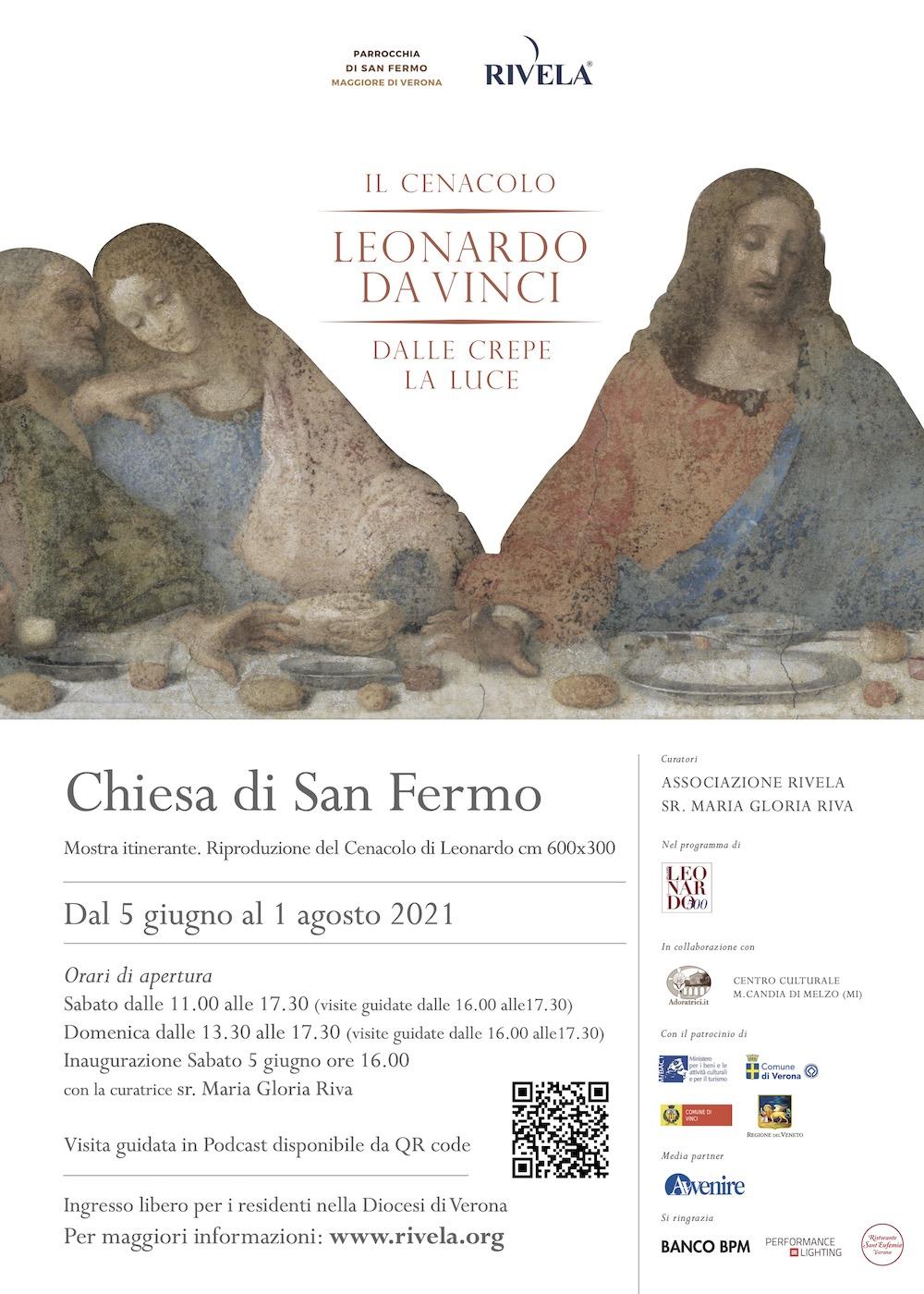 """Il Manifesto della mostra """"Il Cenacolo di Leonardo da Vinci. Dalle crepe la luce"""" alla Chiesa di San Fermo"""